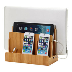 Great Useful Stuff - Bamboo Multicharging Station - Hide all your cords and keep your gadgets organized and fully charged in one neat location. Slide your laptop, tablet and phones into one sleek bamboo holder for easy charging and tuck the cords away. You'll free up counter space and save yourself endless frustration over lost cords and dead phones. Every home needs one of these!