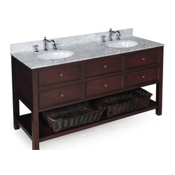 Kitchen Bath Collection - New Yorker 60-in Double Sink Bath Vanity (Carrara/Chocolate) - This bathroom vanity set by Kitchen Bath Collection includes a chocolate cabinet with soft close drawers, Italian Carrara marble countertop, double undermount ceramic sinks, pop-up drains, and P-traps. Order now and we will include the pictured three-hole faucets and a matching backsplash as a free gift! All vanities come fully assembled by the manufacturer, with countertop & sink pre-installed.