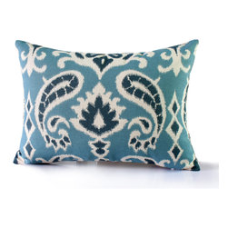 14 Karat Home - Victoria Pillow - This 12 X 20 accent pillow, made with an upholstery weight cotton/linen blend, has a gorgeous oversized paisley ikat print. The different hues of blue make for a tasteful and fun aesthetic.  The printed pattern is featured on both front and back.