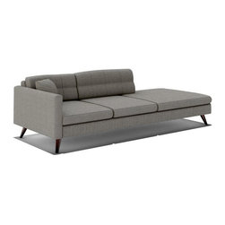 "TrueModern - Dane 94"" One Arm Sofa with Chaise in Calvin Dolphin - This modern Dane 94"" One Arm Sofa with Chaise in Calvin Dolphin is bringing a little unique flavor into your living room with its retro inspiration. The Danish legs and top stitching on the cushions make this piece a modern classic. *Seat Height: 16.5"""