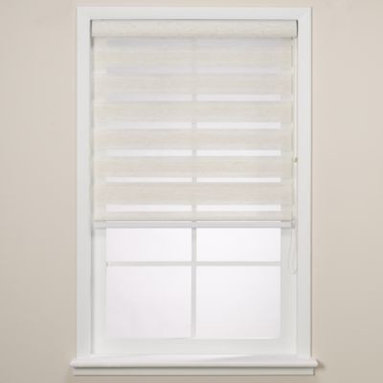 Real Simple - Real Simple  Sheer Layered Shade - This elegant shade offers privacy when closed and beautifully filters light when open while still providing UV protection. When completely open the sheer fabric rolls up into the head rail, providing a clean look.
