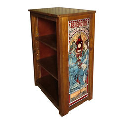 Kelseys Collection - Book cabinet 3 shelf Benedictine by Mucha - Book cabinet in solid pine features three adjustable storage shelves with two giclee prints on the side panels, showcasing Alphonse Mucha artwork. The giclee print have three coats of UV inhibitor.  Dimensions are 33BY22BY12 Net weight 20 pounds. Three adjustable shelves. Estimated assembly time 20 minutes.