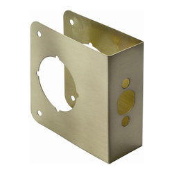 First Watch Security - Door Reinforcer Door Thickness 1-3/4 in. in Antique Brass - Repairs damaged doors. Assists in preventing forced entry. Backset: 2-3/4 in.. Door Thickness: 1-3/4 in.. 4 in. x 4-1/2 in.. Made from Solid Brass. Antique Brass Finish