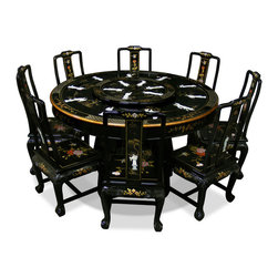 "China Furniture and Arts - 60in Black Lacquer Dining Table with 8 Chairs - Inspired by 18th century European interpretations of traditional Chinese motifs, this magnificent dining set is beautifully hand-painted with Chinese peony motif on black lacquered hardwood and decorated with mother of pearl dancing figures. It is an eye catching piece every time when you entertain. Accompanied by eight matching chairs and a removable glass top lazy Susan situates in the center providing convenience for passing the dishes. A fine example of traditional Chinese dinning set. Lazy Susan and table are topped with 1/4""thick glass tops which are included for your convenience."