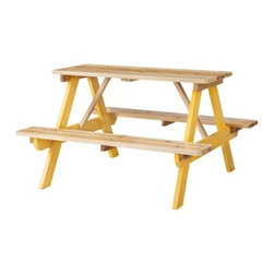 Room Essentials Kids Wood Patio Picnic Table, Yellow - There's nothing better than having a summer picnic, or just an afternoon art session, out on the patio.