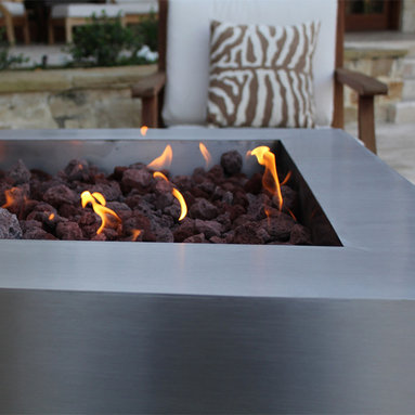 """Fire Pits - Great for Fall and Winter - The Bentintoshape 35"""" Square Fire Pit is crafted out of 12 GA 304 stainless steel and has a subtle brushed finish. This Modern Fire Pit is available with remote tank gas kits and a wood burning version."""
