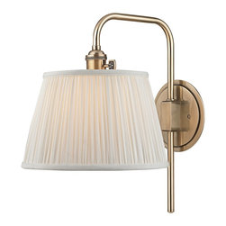 "Hudson Valley - Traditional Hudson Valley Fillmore 14 1/2"" High Aged Brass Wall Sconce - This lovely and functional aged brass finish hardwired wall sconce has a slender metal arm that swivels on a round backplate. Operated with a signature HVL switch and topped with a gently gathered white faux silk shade that spreads a wonderfully warm illumination. Enhance your decor for years to come with this beautiful Hudson Valley lighting design. Swing arm wall sconce. Metal construction. Aged brass finish. Gathered white faux silk shade with socket ring attachment. Hardwired. Operates with Hudson Valley's signatures HVL switch. Takes one maximum 75 watt or equivalent bulb (not included). Extends 13 1/4"". Round backplate is 5 1/2"" wide. 14 1/2"" high.  Swing arm wall sconce.  Metal construction.  Aged brass finish.  Gathered white faux silk shade with socket ring attachment.  Hardwired.  Operates with Hudson Valley's signatures HVL switch.  Takes one maximum 75 watt or equivalent bulb (not included).  Extends 13 1/4"".  Round backplate is 5 1/2"" wide.  14 1/2"" high."