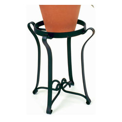 Achla - 18 in. Solid Iron Planter Stand - Elevated your potted plants to a height where they are sure to get noticed and appreciated.  This lovely iron stand is practical and stylish, offering a rich midnight black powdercoated iron finish to accent your indoor and outdoor spaces.  Planter holds pots with up to 15 inch bases to maximize your display area for floral arrangements.  The patio planter base offers a wrought iron style of appeal with sensuously curling flat bar that shows off its gracious curves from top to bottom.  Style meets practicality with this patio plant stand. * Holds pots with bases up to 15 in. wide 18 in. off the ground. Maximum weight capacity is 25 lbs.. 15 in Dia. x 18 in. HDisplay your flowerpots to their best advantage with this stylish and practical Patio Planter Base. Crafted of Iron and Powdercoated in Midnight Black for long lasting beauty and durability.