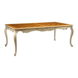 "French Heritage Limoqes Dining Table - Introduce a chic and comfortable statement in your dining environment. Hand carved accents are complimented with an ivory hand painted base with a contrasting natural cherry top. Crafted of cherry and includes one 25.5"" leaf to extend the dining surface."