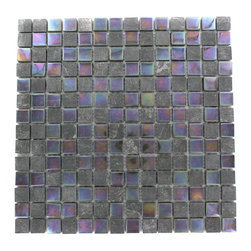 """GlassTileStore - Geological Squares Black Slate & Rainbow Black Glass Tiles - Geological Squares Black Slate + Rainbow Black Glass Tiles          This striking square design has a combination of black slate and metallic iridescent rainbow black glass. These mesh mounted and will bring a sleek and contemporary clean design to any room.         Chip Size: 3/4 x 3/4   Color: Black and Metallic Iridescent Rainbow Blackr   Material: Slate and Glass   Finish: Polished and Frosted   Sold by the Sheet - each sheet measures 12""""x12"""" (1 sq. ft.)   Thickness: 8mm            - Glass Tile -"""