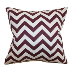 """The Pillow Collection - Xayabury Zigzag Pillow Maroon White 20"""" x 20"""" - This throw pillow comes with a stunning zigzag pillow. This accent pillow features a rich maroon and white hue which provide a pop of color to your interior. This square pillow creates a beautiful contrast when paired with solids and other patterns. Toss this decor pillow on your favorite chair, sofa or bed. Crafted from 100% durable cotton fabric. Hidden zipper closure for easy cover removal.  Knife edge finish on all four sides.  Reversible pillow with the same fabric on the back side.  Spot cleaning suggested."""