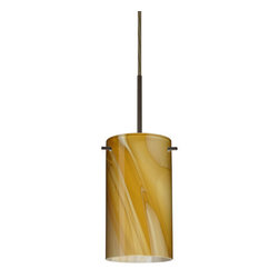 "Besa Lighting - Besa Lighting 1BC-4404HN Stilo 1 Light Cord-Hung Mini Pendant - Stilo 7 is a classic open-ended cylinder of handcrafted glass, a shape that will stand the test of time. This unique decor is handcrafted, with layered swirls of yellow-amber and golden-brown against white, finished to a high gloss. It's classic swirl pattern and high gloss surface has a truly florid gleam. Honey is a hand-blown glass designed to have a shiny and polished finish. The glass is gathered and rolled into shape a unique pattern is formed that cannot be replicated. This blown glass is handcrafted by a skilled artisan, utilizing century-old techniques passed down from generation to generation. Each piece of this decor has its own unique artistic nature that can be individually appreciated. The cord pendant fixture is equipped with a 10' SVT cordset and an ""Easy Install"" dome monopoint canopy.Features:"
