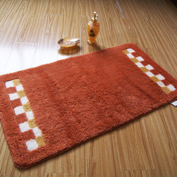 Elegant Orange Bath Rug and Mat - This rug features an attractive pattern that traps moisture and dirt. The Square layout design has a rich look and feel, and extraordinary texture offers warms, comfort, and versatility. The rear side of the product is covered by natural latex to prevent slipping. Suitable for your living room, bedroom, bathroom and the office. Machine washable and easy to clean. This stylish rug is sure to add a touch of whimsy to any room in your home.