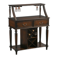 AA Importing - Victorian Inspired Sideboard Wine Bar in Dark - Turn your home bar into a traditional showcase! This wood sideboard features plenty of spirit-inspired storage. 4 glass racks, 2 drawers and a pair of spacious shelves help you serve in style. Sideboard's elegant curves & turned legs impress with dark brown finish. 4 Glass racks at top. 2 Drawers. 2 Shelves below. Bottle holder at bottom that holds up to 8 bottles. No assembly required. 36 in. L x 17 in. W x 44 in. H (94 lbs.)