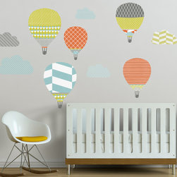 The Lovely Wall Co - High in the Sky Hot Air Balloons  Removable Wall Decal, Orange Combo - High in the Sky Hot Air Balloons - Wall Decal