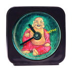 "Laughing Buddha Alarm Clock - Our alarm clocks are made from original paintings by artist Pamela Corwin and are 2.25'' square with a round face. Our Laughing Buddha Alarm Clock reminds you to stay in the present. The word ""now"" floats around the Buddha as it counts the seconds. Each alarm clock comes in a gift box and includes a free battery. Made in the USA (Be sure to look for our Laughing Buddha wall clock, too!)"