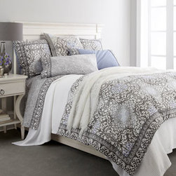 "Frette Edmond Frette - Frette Edmond Frette Queen Perle Bordo Bed Set (Flat & Fitted Sheets) - From luxurious textures and ornate patterns with a hand-printed look to a sophisticated palette of gray and pearl with touches of periwinkle, Frette sees to it that every detail of ""Mabrouka"" bedding meets perfection. ""Mabrouka"" duvet covers and matchi..."