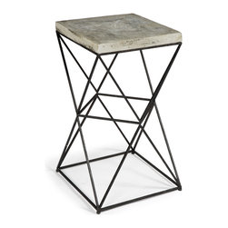 Kathy Kuo Home - Eames Industrial Loft Metal/Concrete Square End Table - A bold modern statement, perfect for mid century inspired spaces, is at the heart of this stylish end table.  Creating a bold, geometric effect, this beauty is as functional as it is fabulous.