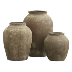 Olive Jars - These olive jars might not need plants, for they sure are pretty to look at. Group them together on a patio or deck, and you've got a nice focal point.