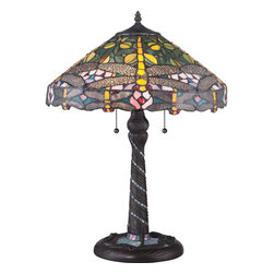 Quoizel - Quoizel 0 Lamps - SKU: TF1666T - This lamp is a whimsical twist on one of Louis Comfort Tiffany Studio`s most popular designs. The magical world is captured through the bright greens, yellows, and pinks while it focuses on the imagination with the lacy, filigree-winged dragonflies gently placed around the shade. The base brings the piece full circle by incorporating bluish-purple art glass in a swirl pattern ending with a dragonfly design. Jonas.........making every dream come true.