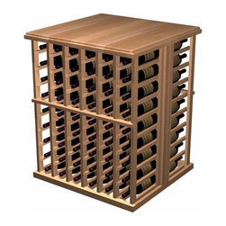 Wine Cellar Innovations - Designer Wine Rack - 108 Bottle Tasting Table - Allheart Redwood - Enhance the look and mood of your wine cellar with functional working space and extra bottle wine storage.