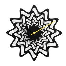 Progetti - Flux 2090 Black Wall Clock - Wall clock in painted steel. Battery quartz movement.