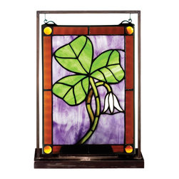 Meyda Tiffany - Meyda Tiffany Shamrock Lighted Tabletop Tiffany Window X-63005 - Decorative and charming, perfect for the Irish holidays, this Meyda Tiffany lighted tabletop Tiffany window is an excellent choice for any home. This lighted window features a vivid green three leaf clover set against a rich purple backdrop. A small flower and coordinating brown trim pull the look together.