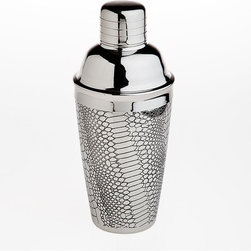 "Godinger Silver - Croco Design Silver Plated Cocktail Shaker - Party time is quickly approaching, and you're nowhere near drunk! Shake things up a bit at your next party with our elegant and clever silver plated martini shaker. Exceptional in quality and style, this shaker makes a wonderful gift for him on Birthdays and Father's day and makes an impressive addition to any home bar!    * Dimensions: 3.60""D x 8.5""H"