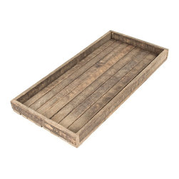 Kathy Kuo Home - Homestead Rustic Lodge Reclaimed Wood Long Tray - This antique wooden tray is built to be useful and last through the ages. It is constructed from reclaimed wood with a natural, raw finish so you don't have to worry about putting it into regular rotation in your industrial loft or lodge style home.
