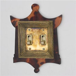 Tortoise and Brass Double Switch Plate Cover - Now this is something special. It's a tortoise and brass pagoda switch plate cover.