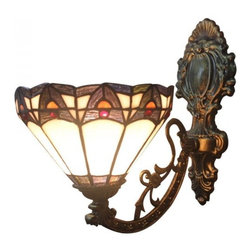 ParrotUncle - Iron Base Baroque Stained Glass Tiffany Wall Sconces - Iron Base Baroque Stained Glass Tiffany Wall Sconces