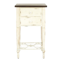 Safavieh - Monica 2 Drawer Side Table - Whether you favor country, coastal or shabby chic design, the Monica Table will complement your style. With two spacious drawers with a lovely scrolled stretcher supporting gracefully turned legs, Monica is crafted of birch with medium oak top and distressed white overall finish. Assembly required.