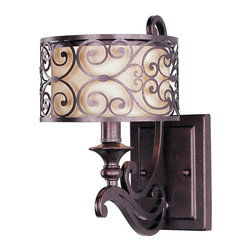 Maxim Lighting - Maxim Lighting Mondrian 1-Light Wall Sconce Umber Bronze - 21152WHUB - Mondrian, a Mediterranean inspired collection, features a forged-iron frame finished in Umber Bronze. The warm glow emitted through the delicate pattern of the metal silhouette gently radiates through the off-white fabric shades to create an interesting lighting effect.