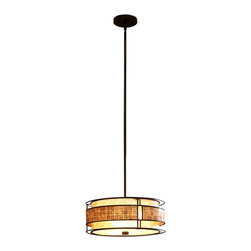Quoizel - Quoizel MC842CRC Mica Modern/Contemporary Pendant Light - This mica piece is an addition to the Quoizel Naturals collection and features a mosaic tile stripe, which appears to be floating around a taupe mica shade. The tiles have a coppery shimmer for an added touch of elegance. It provides a warm and inviting accent for most any home.