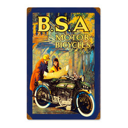 Past Time Signs - BSA Motorcycles Vintage Metal Sign - This vintage metal sign is hand made with pride in the USA using heavy gauge American steel. The high-resolution graphics are sublimated and powdercoated for a long-lasting durable finish and a great vintage look & feel. It's perfect for your %customfield:genre% Man Cave, Game Room, Office, or anywhere you want to show love for your favorite things.
