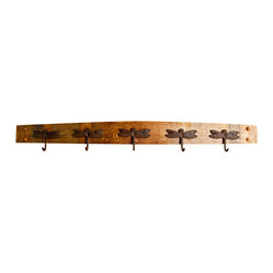 Dragonfly Wine Stave Coat Rack
