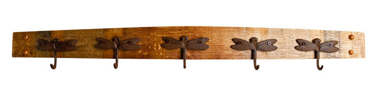 Alpine Wine Design - Dragonfly Wine Stave Coat Rack - Give your guests a place to hang their hats with this beautifully crafted rack. Made entirely by hand from a recycled Napa Valley wine barrel stave, each piece varies in wood grain, stain and aged patina for one-of-a-kind character. Five metal dragonfly hooks add a touch of whimsy.