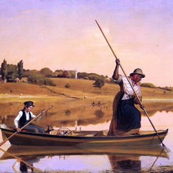 "William Sidney Mount Eel Spearing at Setauket Print - 16"" x 20"" William Sidney Mount Eel Spearing at Setauket (also known as Recolections of Early Days - ""Fishing Along Shore"") premium archival print reproduced to meet museum quality standards. Our museum quality archival prints are produced using high-precision print technology for a more accurate reproduction printed on high quality, heavyweight matte presentation paper with fade-resistant, archival inks. Our progressive business model allows us to offer works of art to you at the best wholesale pricing, significantly less than art gallery prices, affordable to all. This line of artwork is produced with extra white border space (if you choose to have it framed, for your framer to work with to frame properly or utilize a larger mat and/or frame).  We present a comprehensive collection of exceptional art reproductions byWilliam Sidney Mount."