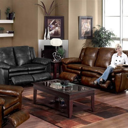 Catnapper - Sonoma 497 Two Pc Reclining Living Room Set i - Includes sofa and chair. Loveseat, coffee table and end table not included. Drop down table with cup holders. Fresh, casual contemporary styling with boxed pillow top. Durable steel seat box. Unitized steel base. The strongest, most durable base in the recliner industry. Resists bending or wear. Reclining Mechanism:. Installed with noiseless sure-lock spring clips. Strongest recliner seat box available. No warping or splitting in this critical area (standard on most models). Direct drive cross bar ensures that both sides of the mechanism operate together, in sequence, for longer life. Heavy 8-gauge sinuous steel springs in the seat provide strength, comfort and flexibility. Made of top grain leather and vinyl. No assembly required. Limited lifetime warranty. Sofa: 89 in. L x 39 in. W x 42 in. H (225 lbs.). Chair: 44 in. L x 40 in. W x 42 in. H (107 lbs.)