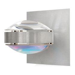Besa Lighting - Besa Lighting OPTOS1W-CLCD Optos 1 Light Halogen Wall Sconce - The Optos wall sconce uses two separate optical-effect lenses to produce interesting displays of up/down light. The aluminum body allows for 359 degree rotation and holds the lenses with clips. Our Clear Lens is a transparent molded borosilicate glass, with a parabolic shape designed to carefully refract the light rays in the light source. The result is an edgy display that exudes an energetic mood. When lit this gives off a light that is functional and vibrant. This handcrafted glass uses a process where every glass is consistently produced using a mold, keeping variations to a minimum.Our Cool Dicro Lens is a molded borosilicate glass, with a technologically advanced dichroic coating outer application, in a parabolic shape designed to carefully refract the light rays in the light source. The result is an edgy blueish-purple display of light that exudes an energetic mood. When lit this gives off a light that is edgy and vibrant. This handcrafted glass uses a process where every glass is consistently produced using a mold, keeping variations to a minimum.Features: