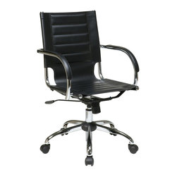 Ave Six - Trinidad Office Adjustable Chair - Attractive and functional office chair. Adjustable height and tilt for ergonomic support. PVC covered arms for comfort. PVC seat and back. Made from PVC and chrome. One year warranty. Assembly required. Seat width: 18.25 in.. Seat depth: 16 in.. Seat height: 17.5 in. - 22.25 in.. Back: 18.25 in. W x 19.25 in. D. 21.75 in. W x 22.75 in. D x 36 in. - 40.75 in. H (58 lbs.)
