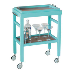 "Port 68 - Avalon Turquoise Bar Cart - The Avalon bar cart keeps cocktail necessities at the ready in slick style. Bold in a bright pop of turquoise accented with silver hardware, this piece rolls with contemporary charisma in dining rooms and living rooms alike. 36""H x 16""D x 27""W; Includes serving tray"