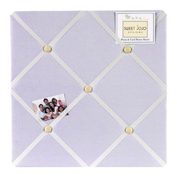 Sweet Jojo Designs - Purple Dragonfly Dreams Fabric Memo Board - The Purple Dragonfly Dreams Fabric Memo Board with button detail is a great way to display photos, notes, and postcards on your child's wall. Just slip your mementos behind the grosgrain ribbon to create an engaging piece of original wall art. This adorable memo board by Sweet Jojo Designs is the perfect accessory for the matching children's bedding set.The Purple Dragonfly Dreams Fabric Memo Board is 14in. x 14in. and comes with metal hangers on the back for easy hanging on the wall.