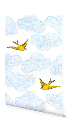 Hygge & West - Daydream Wallpaper, Sunshine - Birds soar among the clouds on high-quality coated wallpaper that's as durable as it is dreamy. Made in the USA, it employs a unique screen-printing technique to achieve a hand-painted appearance and texture.