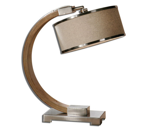 Uttermost - Metauro Wood Desk Lamp - Lightly Stained Wood Base Accented With Polished Chrome Plated Details. The Round Hardback Shade Is An Oatmeal Linen Fabric With Polished Chrome Plated Trim.
