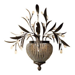 Uttermost Cristal De Lisbon 2 Light Wall Sconce - Golden bronze. Rows of crystal beads fill the channels of the narrow ribs, and bouquets of the same cut crystals spill over the edges, their rich unique color catching the light in both the prisms and also in the beading.