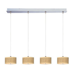 "ET2 - ET2 E95498 Elements 4 Light 5.5 Inch Drum Shade Linear Foyer Pendant - Bulbs Inc - ET2 E95498 Four Light 5.5 Inch Drum Shade Linear Foyer Pendant from the Elements Collection - Bulbs IncludedA twist on a classic design, the Elements linear four light foyer pendant features small 3.75"" tall drum shaped perforated fabric shades that will enhance the appeal of any room.ET2 E95498 Specifications:"