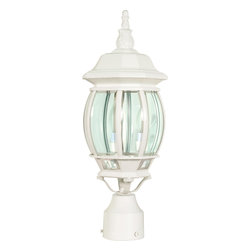 """Nuvo Lighting - Transitional Three Light Up Lighting Outdoor Post LightCentral Park Collection - Central Park - 3 Light - 21"""" - Post Lantern - w/ Clear Beveled Glass"""