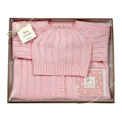RR - On Sale Cable Knit Sweater And Hat Boxed Set In Pink - 6 Months - On Sale Cable Knit Sweater And Hat Boxed Set In Pink 6 Months