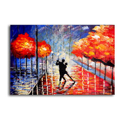 """My Art Outlet - Hand Painted """"Dancing the night away"""" Oil Painting - Size: 24"""" x 36"""" (24"""" x 36""""). Enjoy a 100% Hand Painted Wall Art made with oil paints on canvas stretched over a 1"""" thick wooden frame. The painting is gallery wrapped and ready to hang out of the box. A very stylish addition to any room that is sure to get the attention of guests."""